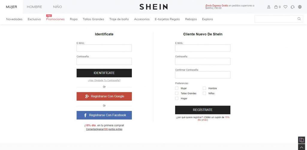 registrarse en shein